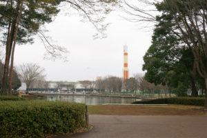 池には鯉やカモがいて、ロケットも見えます。ここは娘のお気に入り。