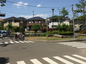 交通公園では本物さながらの交差点で交通ルールを学べます